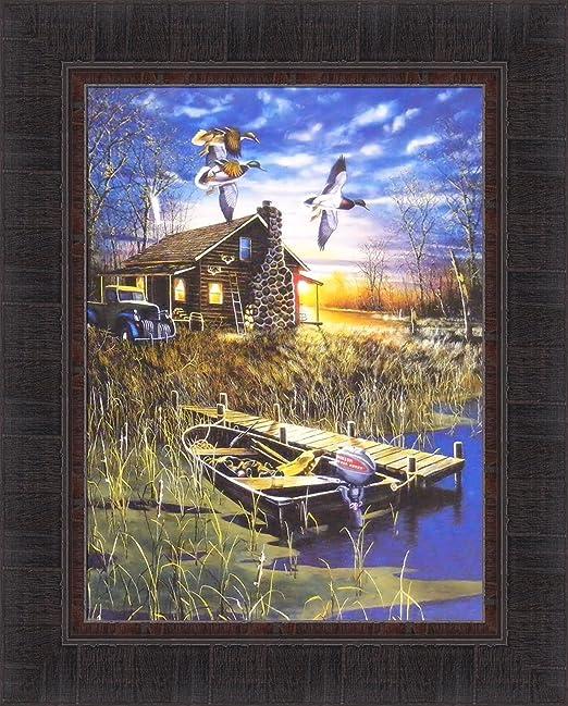 PASSING THROUGH by Jim Hansel FRAMED ART PRINT 17x21 Wood Ducks Cabin Lake Boat