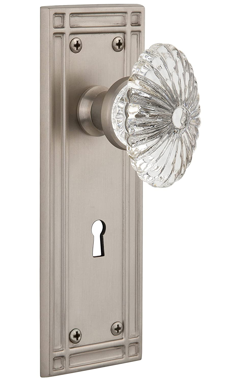 Oil-Rubbed Bronze Nostalgic Warehouse Mission Plate with Keyhole Oval Fluted Crystal Glass Knob 2.375 Privacy