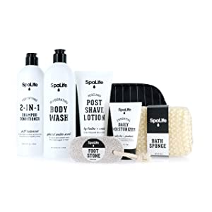 Spa Life All Natural Bath and Body Luxury Spa Gift Set Basket (Men's Grooming Set)