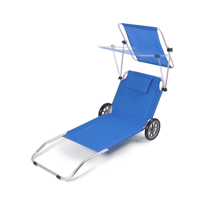 Amazon.de: Vanage Gartenliege Sunny blau mit Sonnendach & Rollen ...
