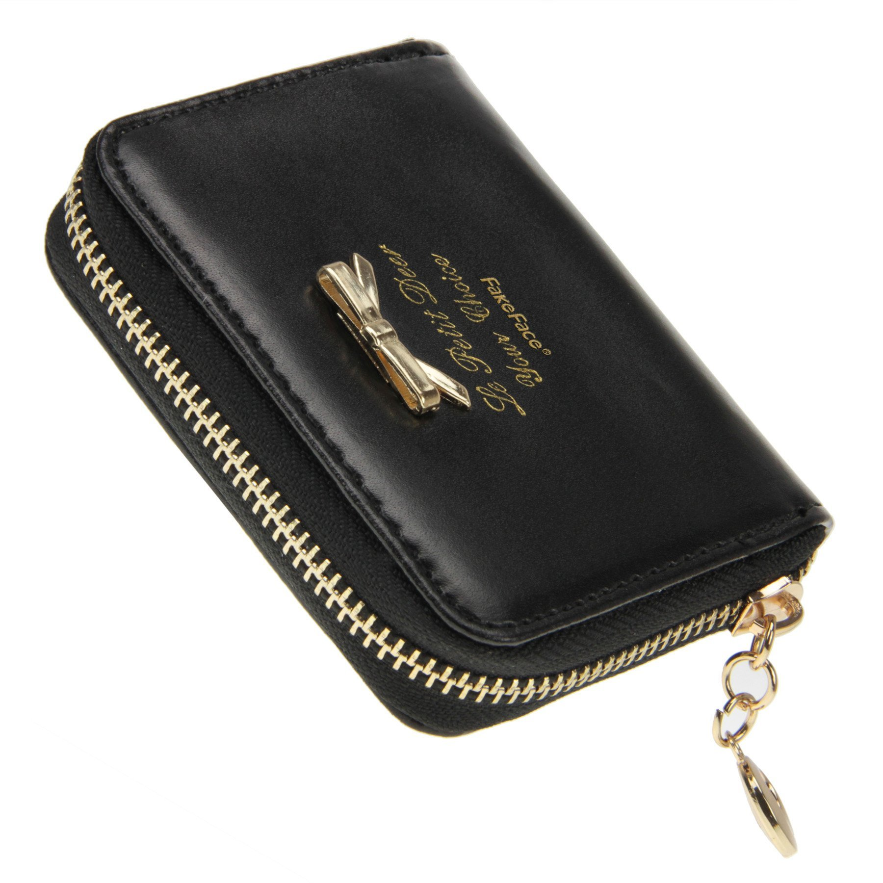 Women Girls Cute Bowknot Waterproof PU Leather Fold Mini Short Wallet Coin Purse Zipper Card Case Holder Clutch Small Handbag Nice Gift by Fakeface (Image #5)