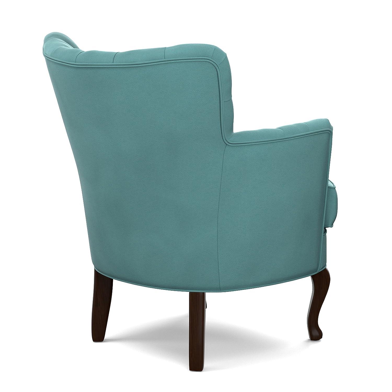 Amazon.com: Unique Portfolio Priscilla Turquoise Blue Velvet Petite Arm  Chair In Blue: Kitchen U0026 Dining