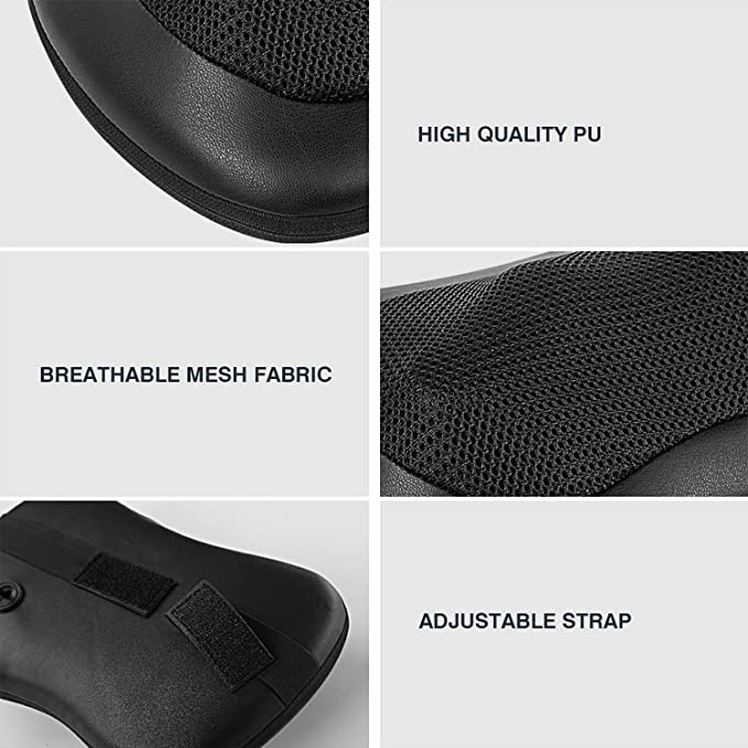 Hangsun Masajeador Espalda Cervical MG100 Shiatsu Almohada de Masaje 3D de Cuello Cojín Masajeador con Calor Infrarrojo + Adaptador de Coche + 4 ...