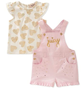 a2ca50476 Juicy Couture Baby Girls Shortall Set, Pink/Vanilla 3-6 Months