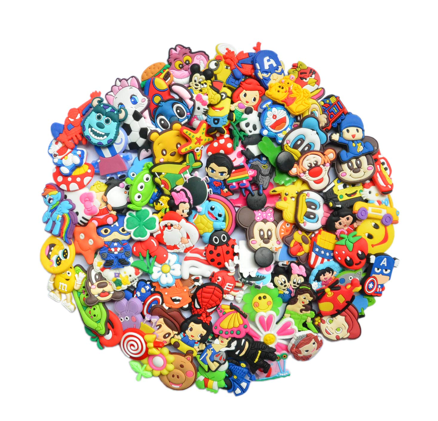 6e4b38efdc036 Amazon.com: YAOYAO Different 100 Pcs PVC Shoe Charms for Croc & Jibbitz  Bands Bracelet Wristband for The Beach Camping: Sports & Outdoors