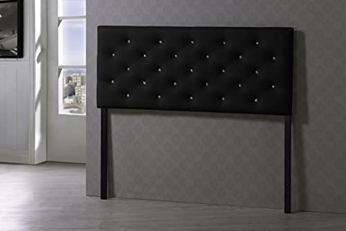 Baxton Studio Viviana Modern Contemporary Faux Leather Upholstered Button Tufted Headboard, Queen, Black