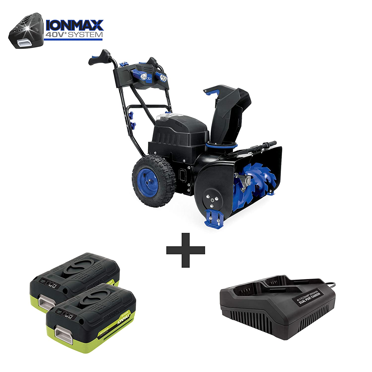 Snow Joe iON8024-XR 80-Volt iONMAX Cordless Two Stage Snow Blower Kit 24-Inch 4-Speed Headlights W// 2 x 5.0-Ah Batteries and Charger