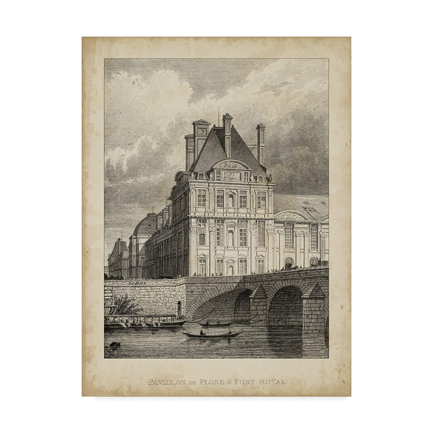 14x19Inch Trademark Fine Art Pavillon De Flore and Pont Royal Wall Decor by a. Pugin, 14x19