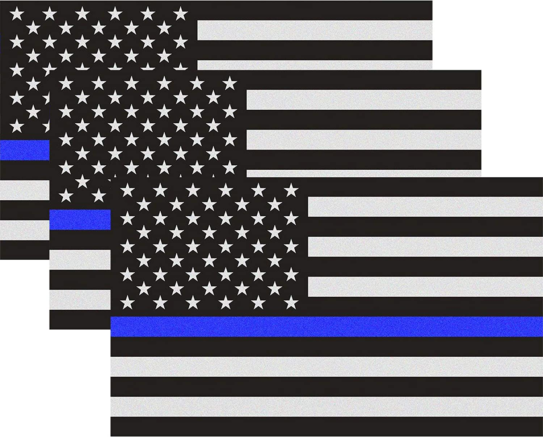 Amazon.es: Classic Biker Gear delgada línea azul bandera de vinilo – 3 x 5 en. Negro, Blanco, y azul la bandera americana adhesivo para coches y camiones – EN apoyo de oficiales