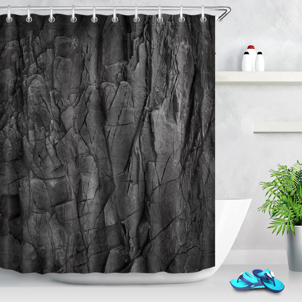 Amazon LB Modern Marble Rock Shower Curtain3D Printing Mildew Resistant Fabric Fashion Bathroom Decor72x72 Inches With 12 HooksBlack Home Kitchen