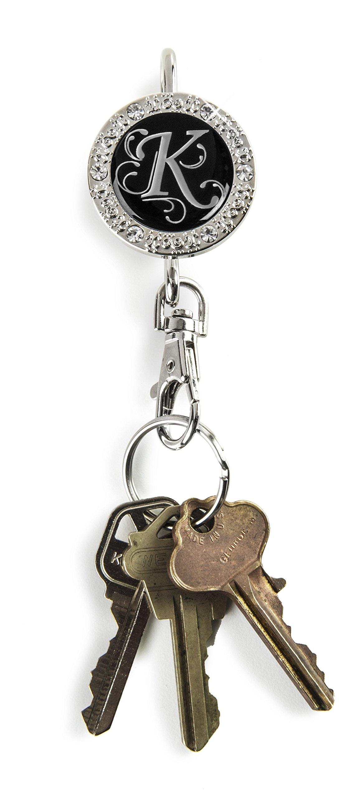 Alexx Finders Key Purse 01B-Mono K Bling Monogram K Finders Key Purse, Black