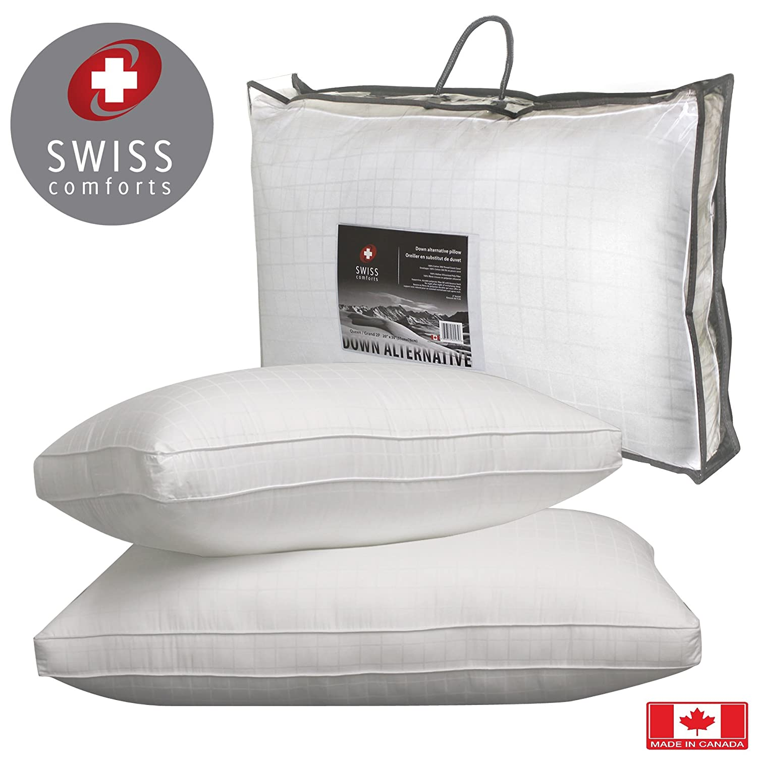 """Swiss Comforts Down Alternative Pillow, 300TC Cotton, 2"""" Gusset, Filled with 100% Holo Siliconized cluster fibre, double piping, square design (Standard 2-Pack)"""