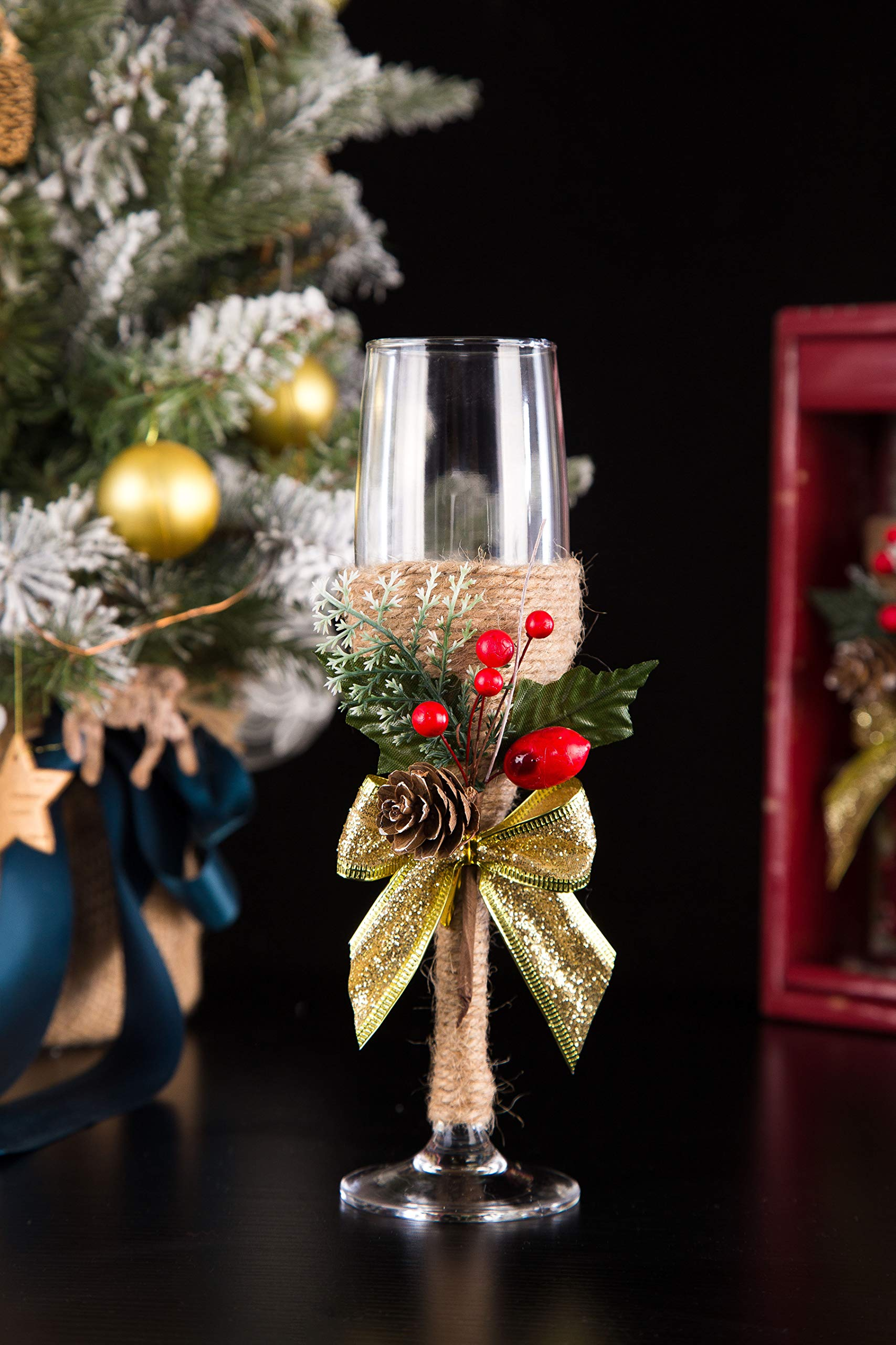 Litiny Christmas Decor Champagne Flute-Creative Christmas Gifts,Couples Gifts,Unique Gifts for Mom,Wedding Gifts