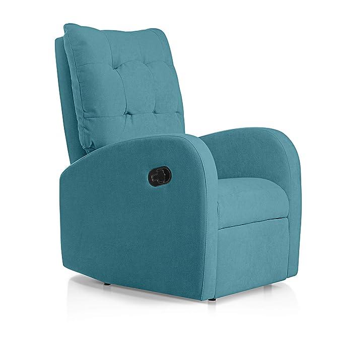 SUENOSZZZ-ESPECIALISTAS DEL DESCANSO Sillon Relax reclinable Soft tapizado Tela Antimanchas Color Turquesa | Sillon reclinable butaca Relax | Sillon ...