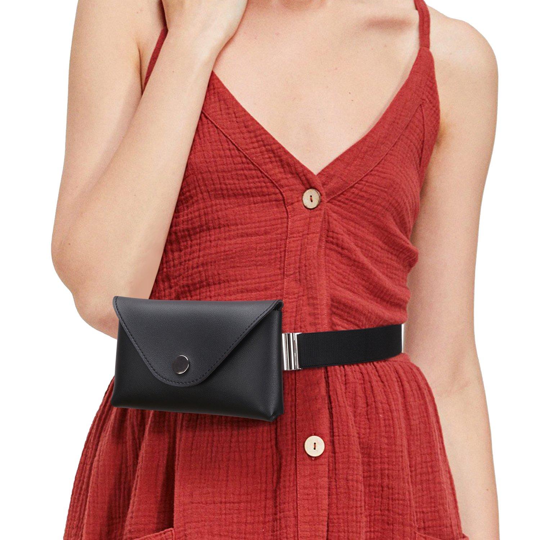 Black Fanny Packs Waist Pouch For Women Fashion Elastic Belt Waist Bag Leather Waist Wallet Fanny Bag