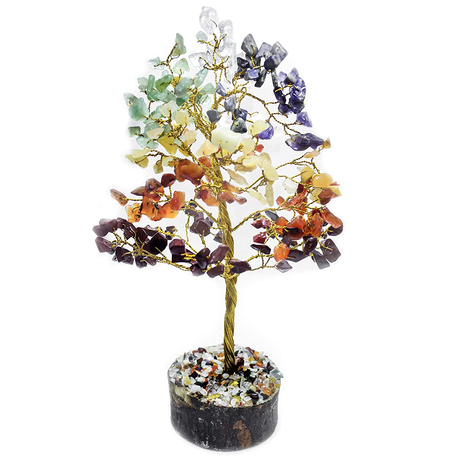 CROCON Seven Chakra Natural Healing Gemstone Crystal Bonsai Fortune Money Tree for Good Luck, Wealth & Prosperity-Home Office Table Decor Spiritual Gift (Golden Wire Branches) Size 10 inches