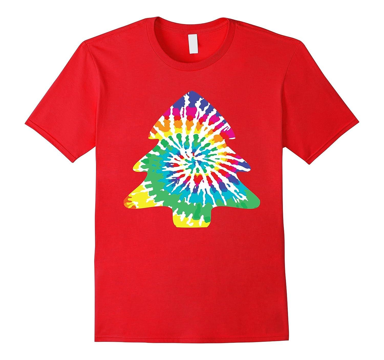 Groovy Tie Dye Christmas Tree Shirt, Tye Dyed Print Holiday-ANZ ...