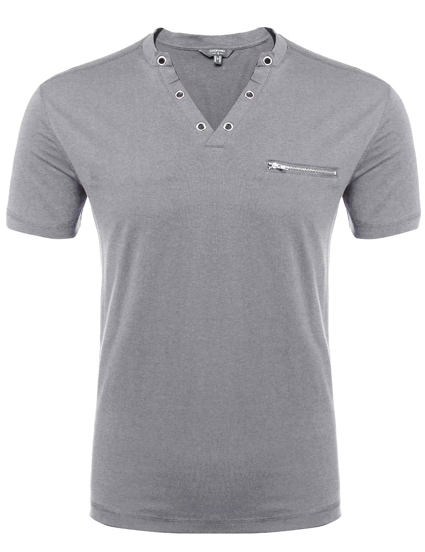 COOFANDY Men's V-Neck Short Sleeve Slim Fit T Shirts