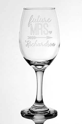 engagement future mrs arrow design with name 13 oz wine glass bridal shower gift