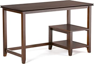 SIMPLIHOME Artisan SOLID WOOD Contemporary Modern 50 inch Wide Home Office Desk, Writing Table, Workstation, Study Table Furniture in Russet Brown