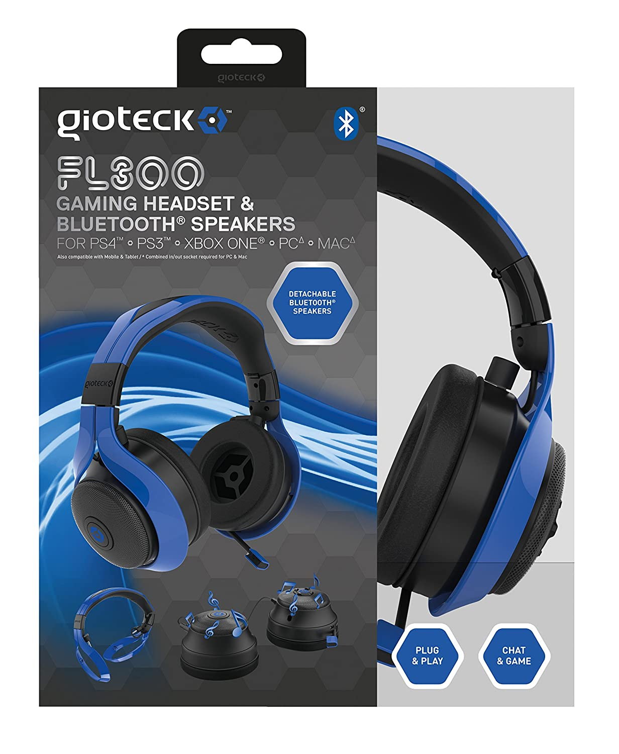 Gioteck FL-300 Wired Stereo Headset with Removable Bluetooth Speakers - Blue [並行輸入品] B00ZTO4O9U