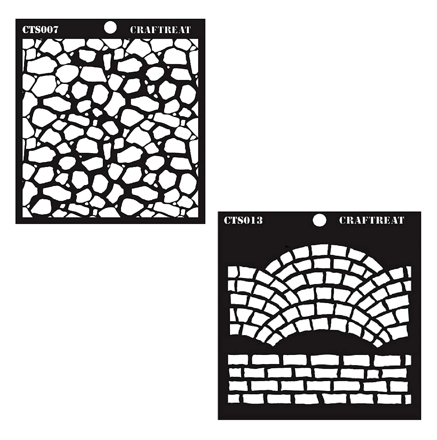 CrafTreat Fancy Bricks & Stone Background Stencil 6X6 CTS013nCTS007