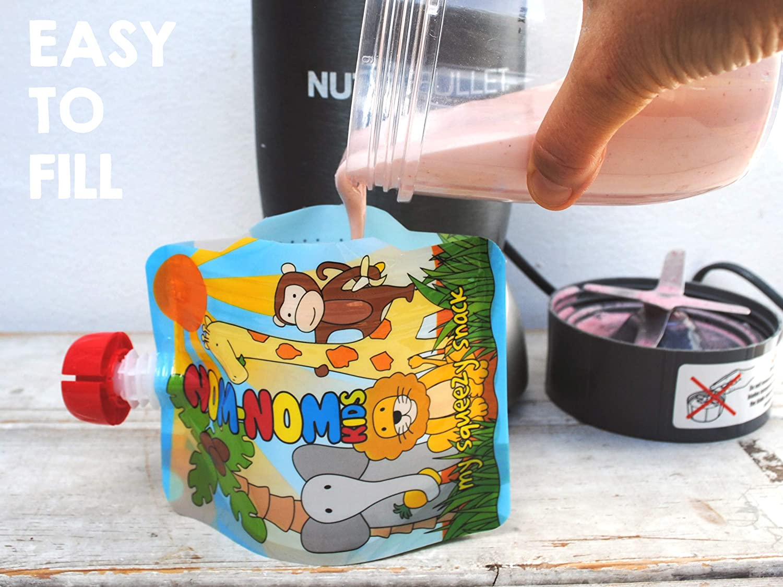 Compatibles Cong/élateur et Lave Vaisselle Lot de 4 Nom Nom Kids ANIMAL Gourdes R/éutilisables pour compotes et pur/ées 140ml Sans BPA