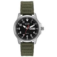 Eco-Drive GarrisonQuartz Unisex Watch, Stainless Steel with Nylon strap, Field watch, Green (Model: BM8180-03E)