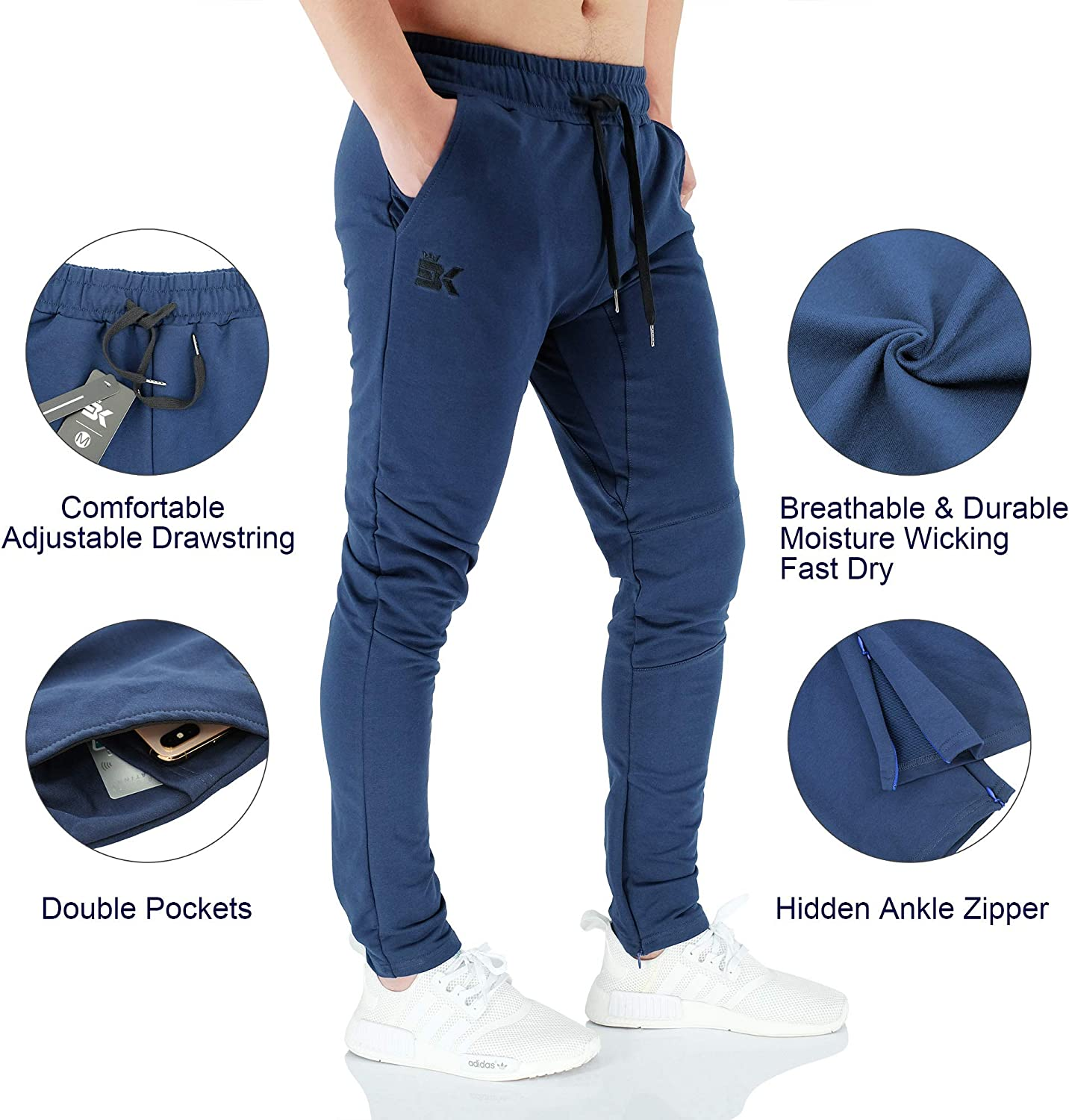 BROKIG Mens Gym Joggers Sweatpants, Causal Slim Fit Running Trousers Tracksuit Jogging Bottoms with Double Pockets Navy