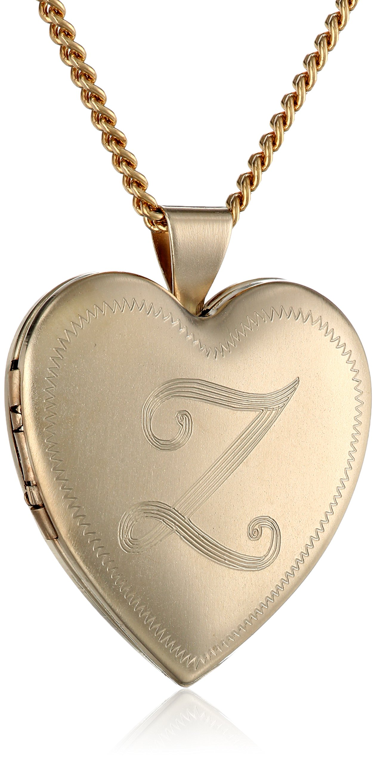 18k Gold-Plated Initial''Z'' Heart 26mm (1'') Locket Necklace, 24''