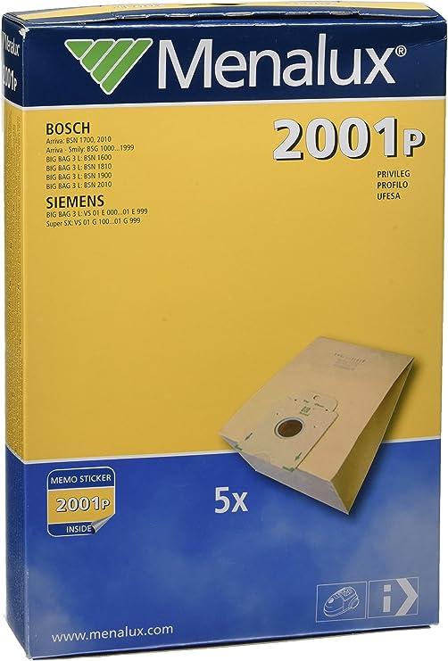Menalux 2001 P Aspirador sin bolsa Bolsa para el polvo - Accesorio para aspiradora (Aspiradora cilíndrica, Bolsa