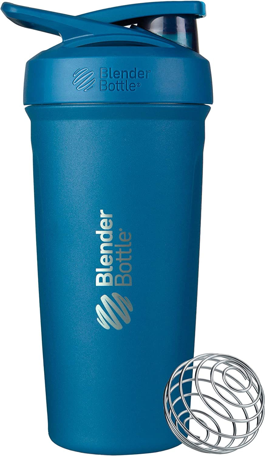 BlenderBottle Strada Insulated Shaker Bottle with Locking Lid, 24-Ounce, Blue