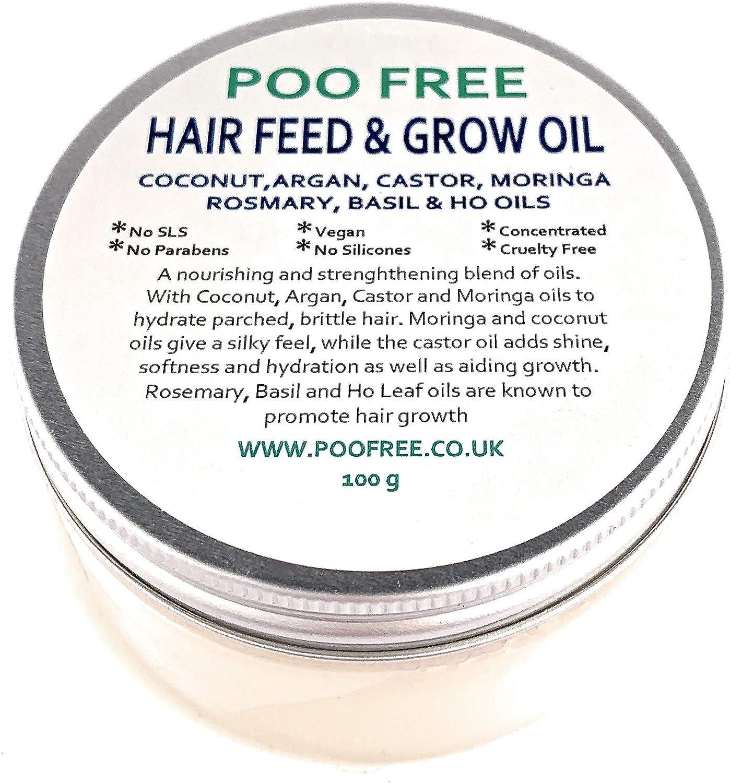 ACEITE NUTRIENTE para el CRECIMIENTO del CABELLO - 100 g - de POO FREE. Aceites de Coco, Ricino, Argán, Moringa, Romero, Albahaca y hojas de Ho. Para el crecimiento del cabello y reparar y nutrir