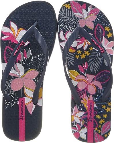 Black Ipanema Tropical Womens Flip Flops Navy /& Lilac