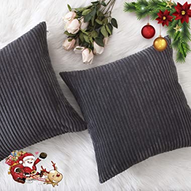 HOME BRILLIANT Fall Decor Pillow Covers Soft Decorative Striped Corduroy Velvet Square Throw Pillow Sofa Cushion Covers Set Couch, 2 Pack, 18x18 inch (45cm), Dark Grey