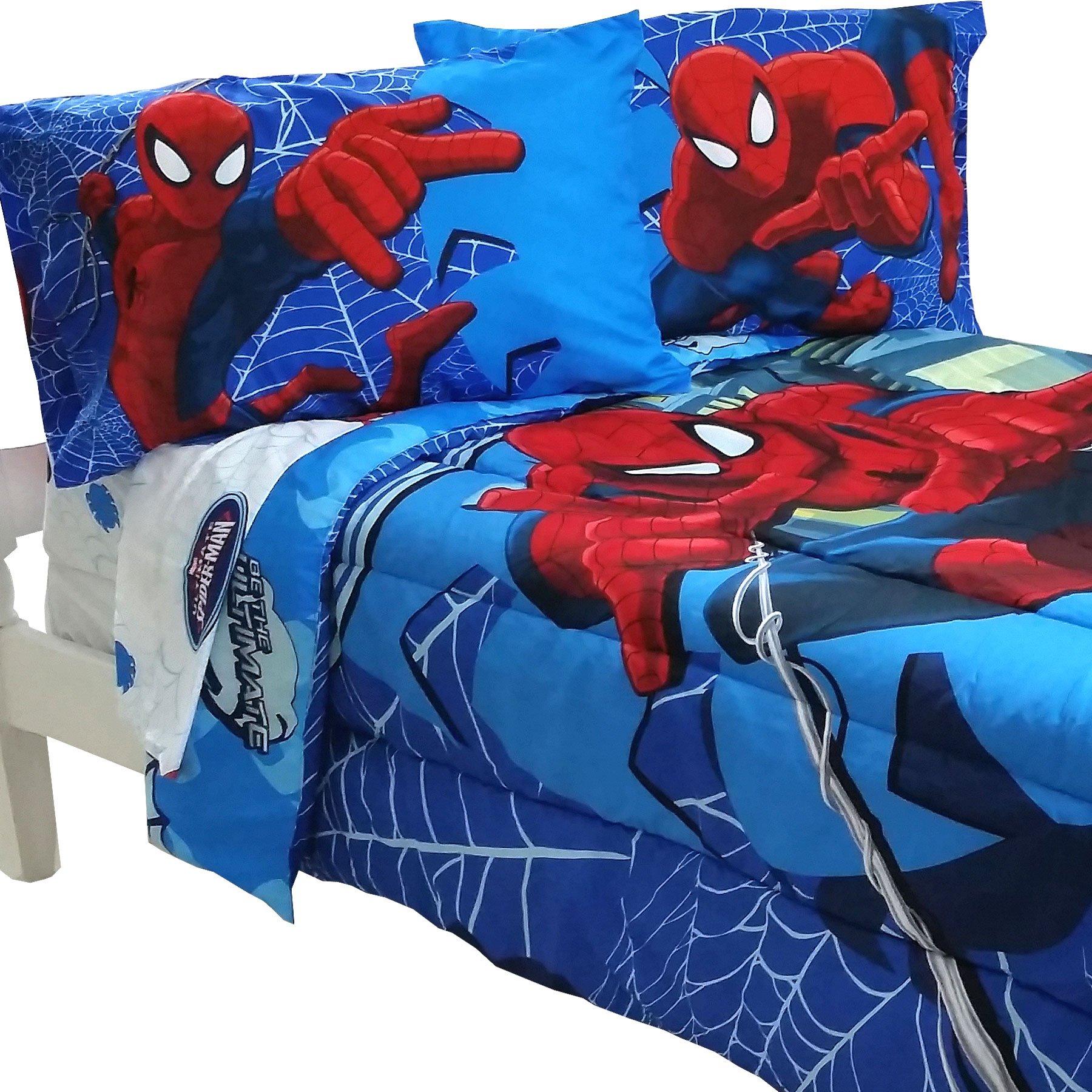 5pc Marvel Comics SpiderMan Full Bedding Set Spidey Astonish Comforter and Sheet Set