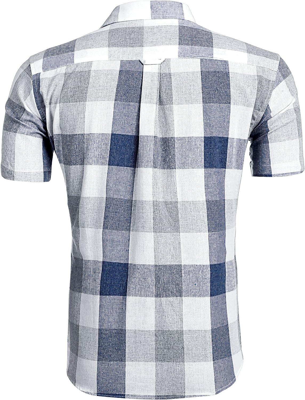 Coofandy - Camisa de verano para hombre, manga corta, camisa de cuadros clásica, color azul marino/L: Amazon.es: Ropa y accesorios