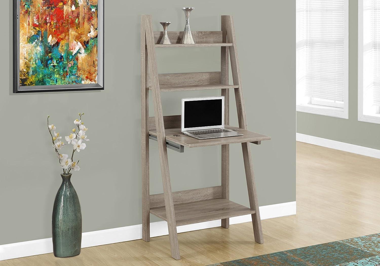 "Monarch Specialties 7042 Ladder Desk-Bookcase-Wall Bookshelf-Stand Shelf, 61"" H, Dark Taupe"