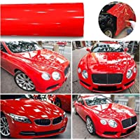 1roll superglans rode vinylfilm auto wraps auto glanzende rode folie auto wrap film voertuig sticker 30 x 152cm auto DIY…
