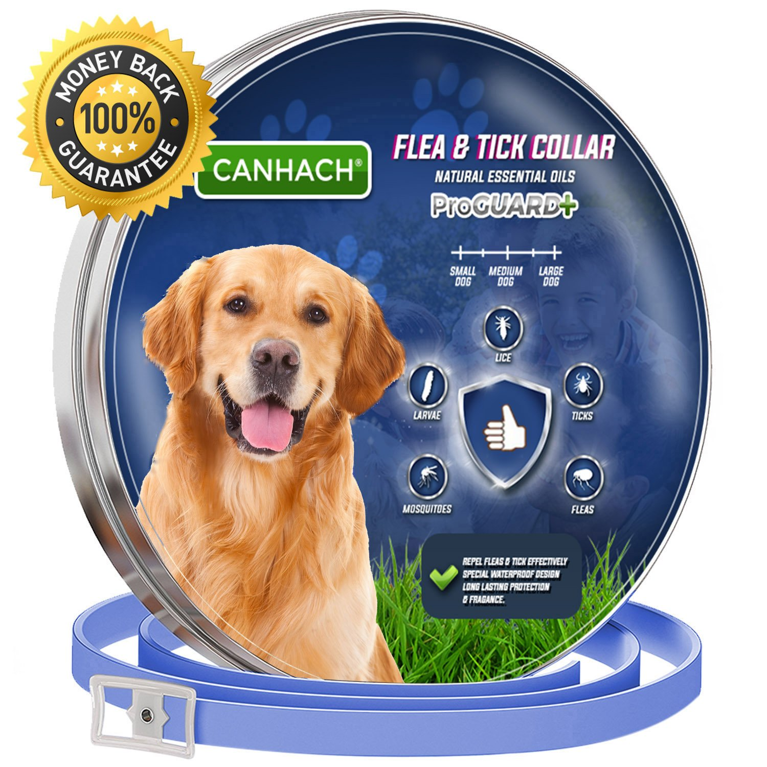 CANHACH Flea Collar for Dogs, Pet Essential Oil Control Collars Dogs Protection from Many Species of Insects. Enhanced with Natural Essential Oil S,M,L Dogs
