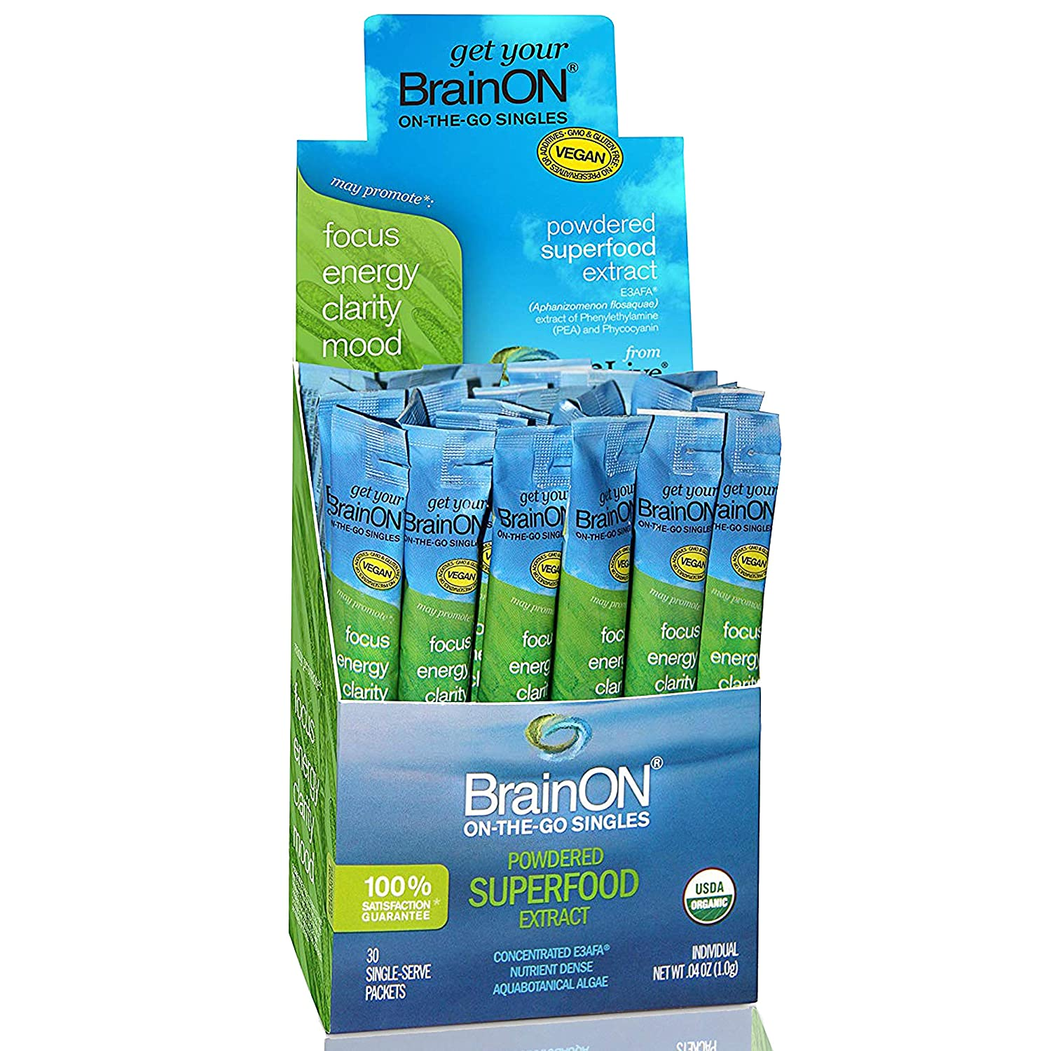 E3Live BrainON – Concentrated E3AFA – On-The-Go Singles – 30 Count Box