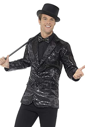Smiffys Mens Sequin Jacket, Black, Medium