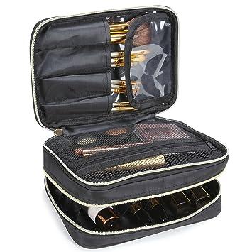 Lifewit Kosmetikkoffer Kosmetiktasche Reisetasche Makeup Tasche mit Bürstenhalter zwei Fächer, Schwarz