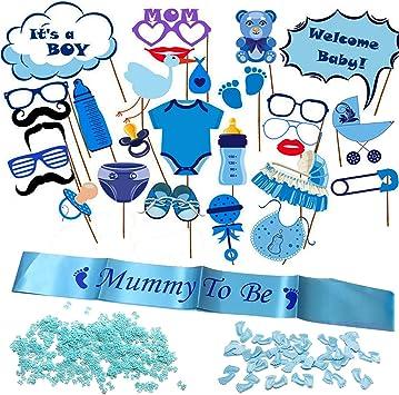 blu 25/x Dylandy photo booth props Baby Shower Boy party props Newborn posa fotografia puntelli kit Eyeglass palloncino latte bottiglia baffi su bastone per festa di compleanno