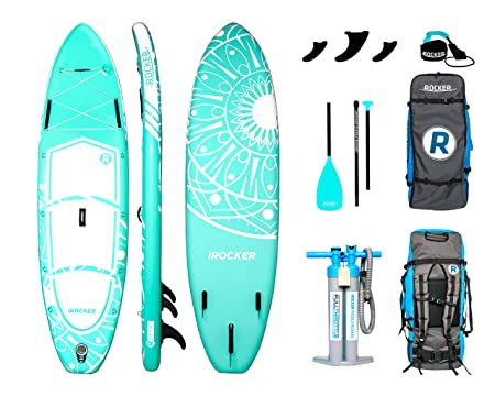 iROCKER All-Around Inflatable Stand Up Paddle Board 10 Long 32 Wide 6 Thick SUP Package