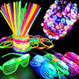 iGeekid 60 PCS Glow in The Dark Party Supplies Glow Sticks Bulk LED Party Favor Light Up Toys Kid/Adults 50 Glow Sticks Neckl