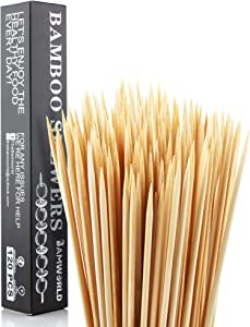 Bamworld bamboo skewers Bamboo Sticks for BBQ Kebob Skewers Skewers for Grilling,Kebab Skewers,Cocktail picks,Skewer for Appetiser,Fruit,Cocktail,Kabob,Party(100, 5.5 Inch)