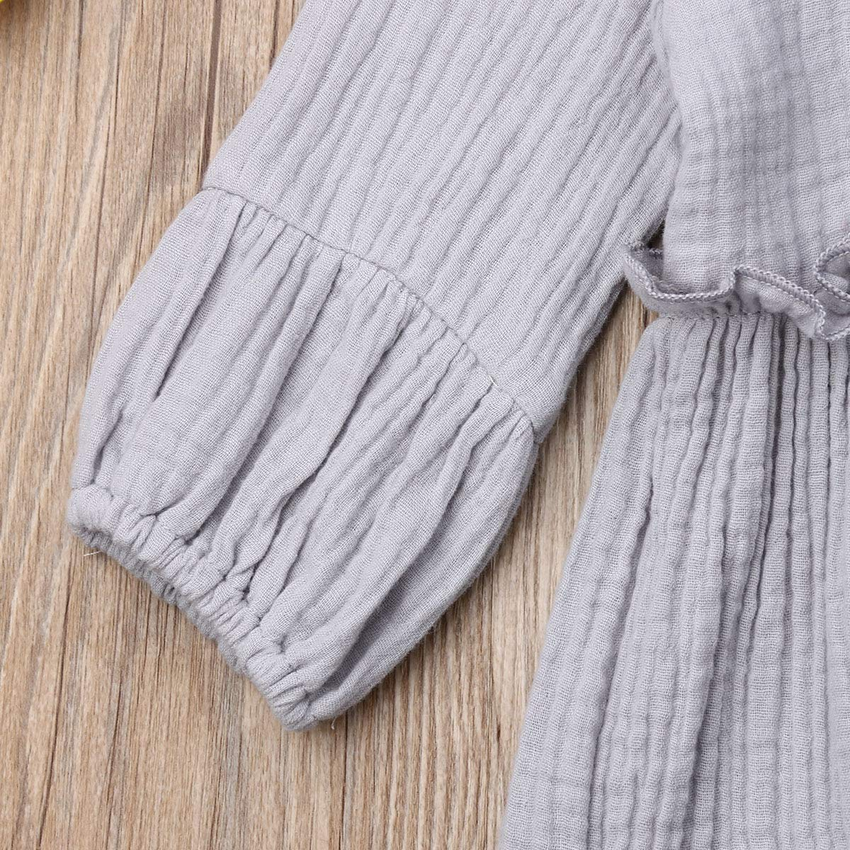 SUITLIM Toddler Infant Baby Girls Long Sleeve Solid Linen Ruffled Princess Dress Bowknot Headband Outfits Set