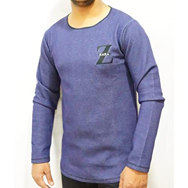 0e20e18823d11 ZARA MEN S Men s Cotton T-shirt (Blue, XL)  Amazon.in  Clothing ...