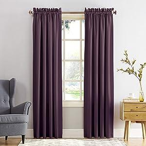 "Sun Zero Barrow Energy Efficient Rod Pocket Curtain Panel, 54"" x 63"", Plum, One Panel"